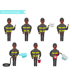 set for animation of firefighters in uniform vector image