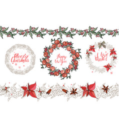 Christmas set with festive elements calligraph vector