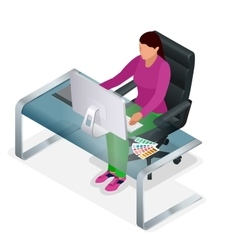 Graphic designer or artist at work Drawing vector image vector image