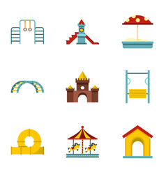 kids playground icons set flat style vector image