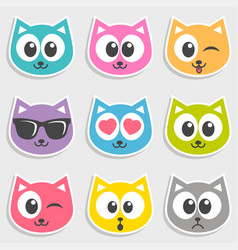 set of colorful cats with different emotions vector image vector image