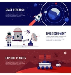 Space Research Flat Horizontal Banners Set vector image vector image