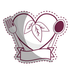 sticker heart with spoon fork and ribbon vector image