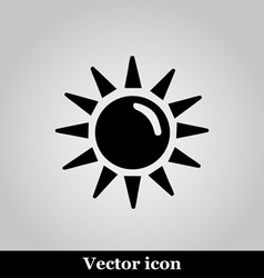 Sun flat icon on grey background vector image vector image