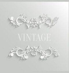 3d Floral Invitation Card in Vintage Style vector image