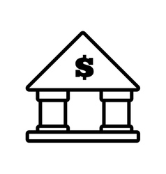 building bank money finance line vector image
