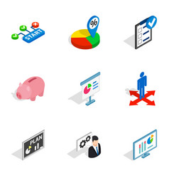 business analytics icons isometric 3d style vector image
