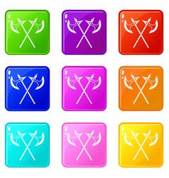 Crossed battle axes set 9 vector