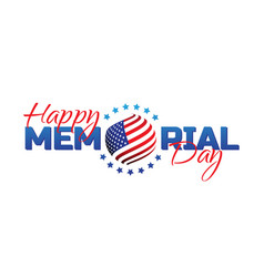 happy memorial day sign with national flag colors vector image