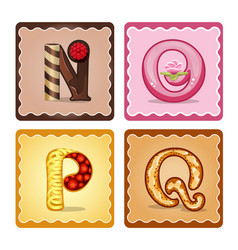 letters n o p q candies vector image