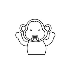 Monkey cartoon drawing animal vector