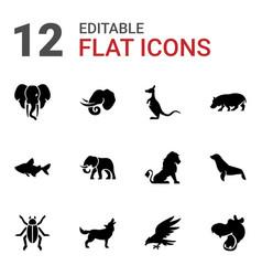 12 wildlife icons vector