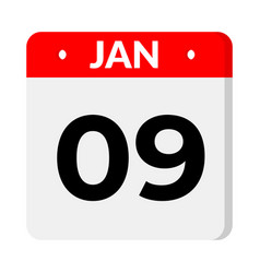 9 january date icon vector