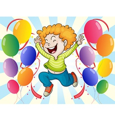 A happy young man with balloons vector image