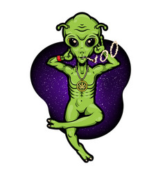 Alien with jamb chilling on space alien vector