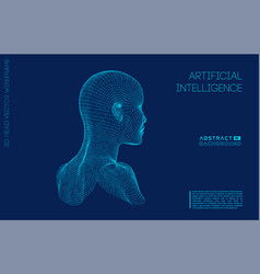 artificial intelligence head city human and vector image