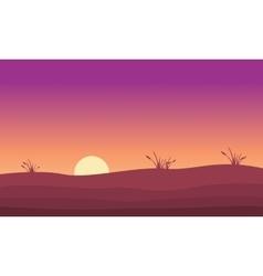At sunrise hill landscape silhouette vector