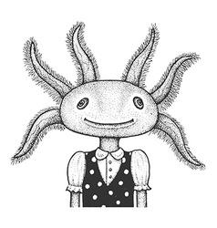 Axolotl Engraving vector image