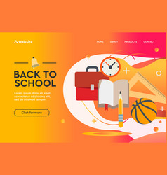 back to school concept web design landing page vector image