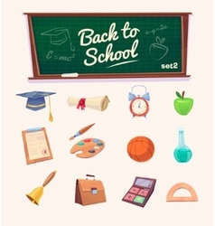 Back to school Set of school supplies and icons vector image