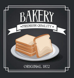 Bakery premium quality shop design elements rye vector