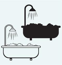 Bath with foam vector