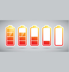 Battery charging levels icons vector