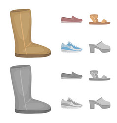 Beige ugg boots with fur brown loafers with a vector