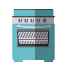 blue color silhouette of stove with oven vector image