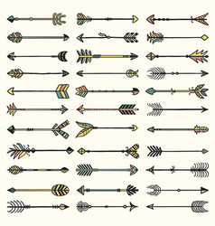 boho arrows collection ethnic authentic feathers vector image