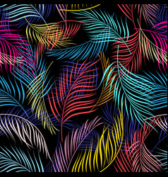 Bright multicolored pattern of leaves of palm vector