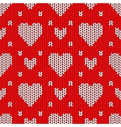 Bright Valentines Day knitted seamless pattern vector image
