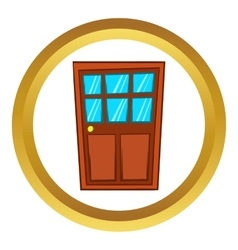 Brown wooden door with glass icon vector