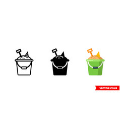 bucket with sand icon 3 types isolated vector image