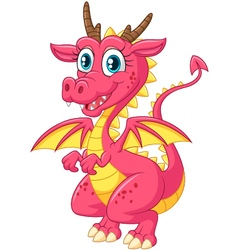 Cartoon cute pink dragon vector image