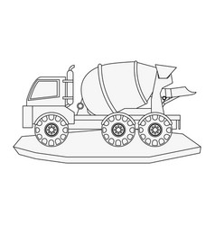 Cement truck heavy machinery construction icon vector