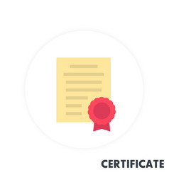 Certificate icon in flat style vector