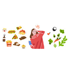 character dieting and healthy eating vector image