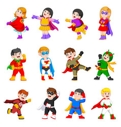 children are using superheroes costume vector image