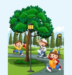 children in park vector image