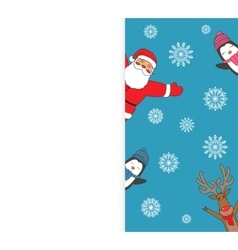 Christmas card with Santa Reindeer Penguins vector image
