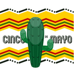 cinco de mayo poster with a cactus vector image