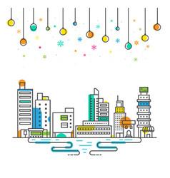 city christmas festival holiday winter celebration vector image