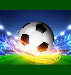 Closeup soccer ball on green grass stadium vector