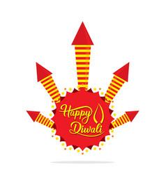 Creative happy diwali poster design with rocket vector