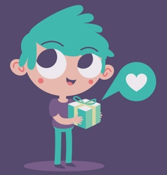 Cute Boy in Love Holding a Present vector image