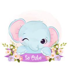 Cute elephant vector