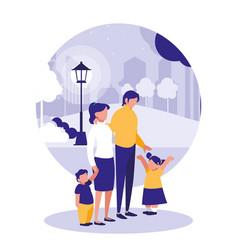 cute family in park scene natural vector image