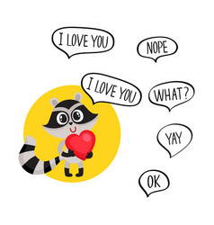 cute raccoon character holding big heart saying i vector image