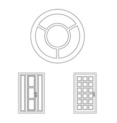 Design of door and front icon set of door vector